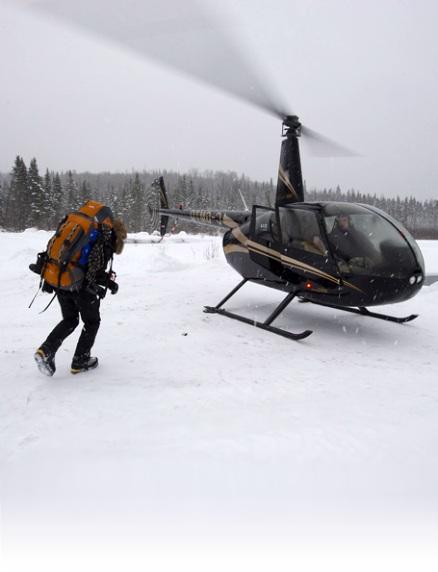 Helicoptere pour un forfait extrême de survie en forêt
