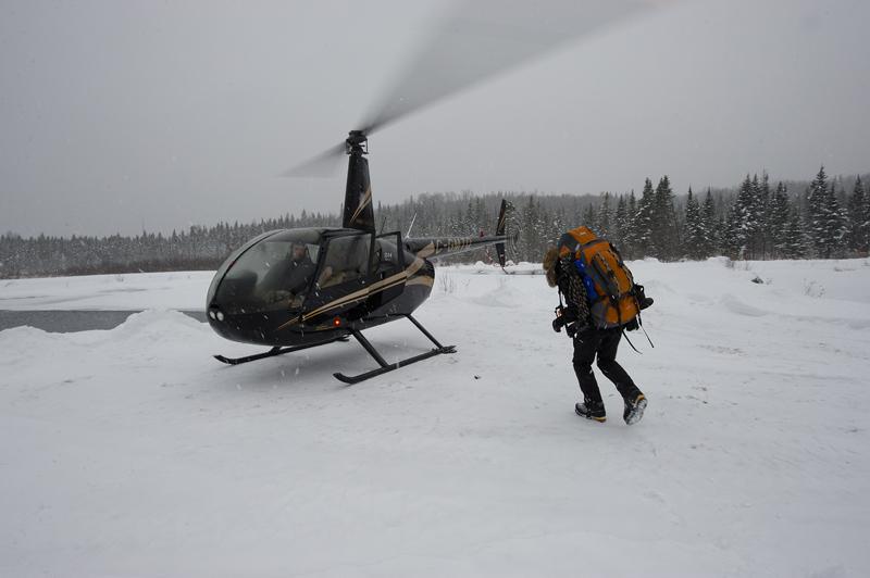 Survie extrême, départ en hélicoptère